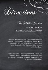 Elegant Chalkboard Directions Card