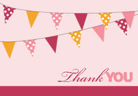 Modern Pennants Pink Thank You