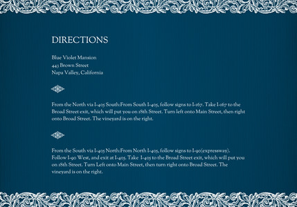Blue Elegance - Directions
