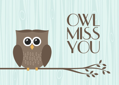 Thinking of You Greeting Cards - Owl Miss You by Mixbook