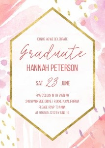 Hand-painted Hexagon Grad Invitation