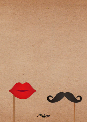 Save the Date Cards - Mustache and Lips on a Stick by Mixbook